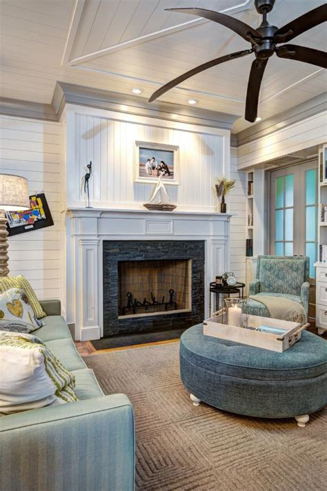 Living Room with Tiled Fireplace, Large Ceiling Fan and