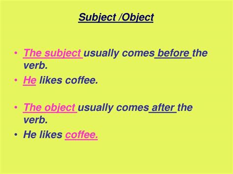 PPT - Subject /Object PowerPoint Presentation, free