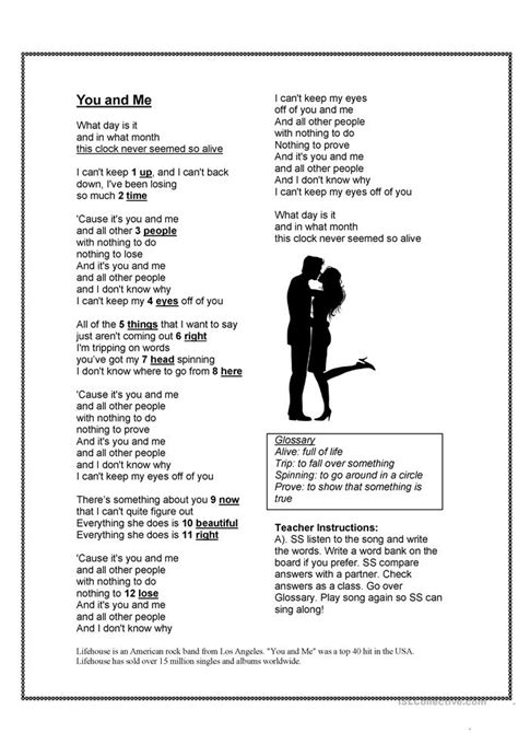 Song -You and Me - Object Pronouns worksheet - Free ESL